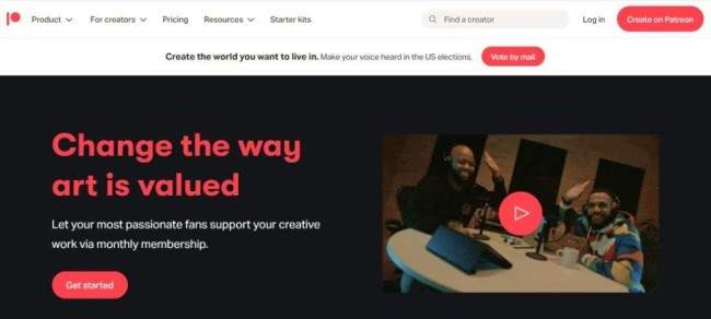 A screenshot from Patreon as one of the crowdfunding platforms