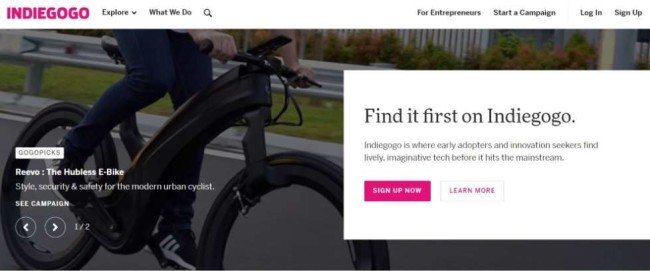 A screenshot from Indiegogo as one of the best crowdfunding sites