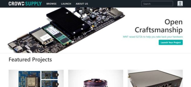 A screenshot from Crowd Supply home page as one of the crowdfunding sites