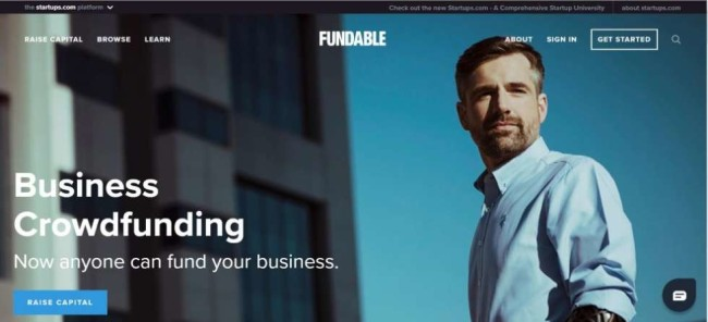 A home page screenshot from Fundable as one of the best crowdfunding sites