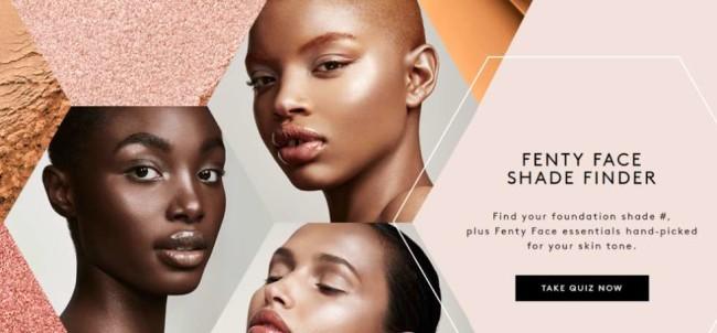 Rihanna's Fenty Beauty Foundation website screenshot