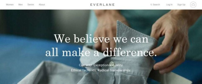 Everlane brand mission screenshot