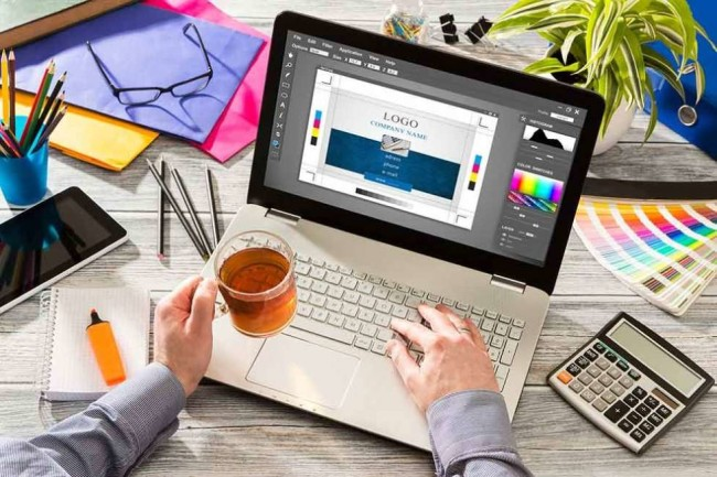crafting brand identity on a laptop