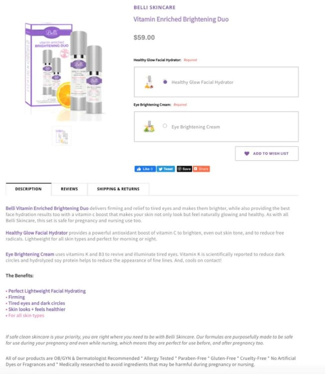 Belli skincare ecommerce product page example