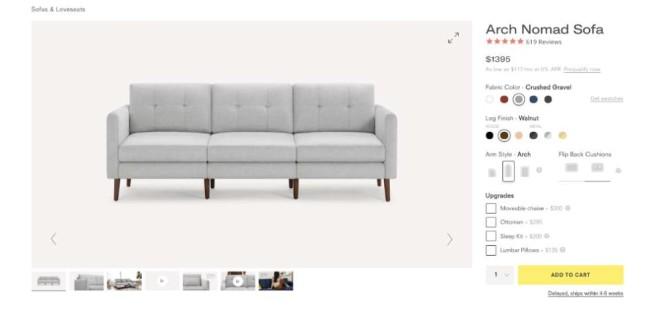 block nomad sofa product page design