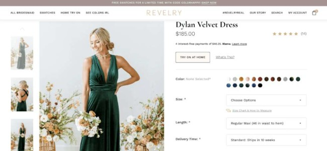 revelry screenshot ecommerce website design