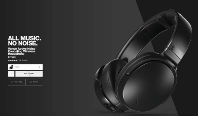 venue noise-canceling headphones ecommerce product page